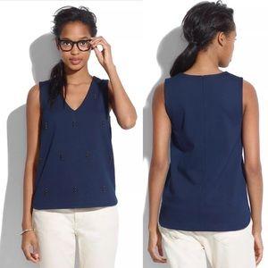 Madewell Ponte Nightshine Navy Shirt Tank Top XL